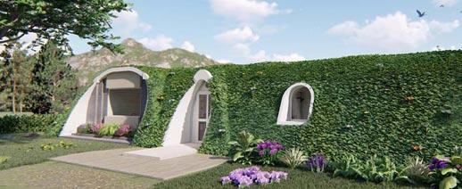 ეკოლოგირი, სახლი, მწვანე, გამოქვაბული